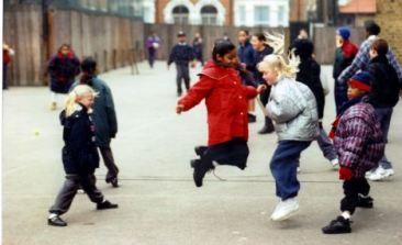 School Children playing games in the School Playground